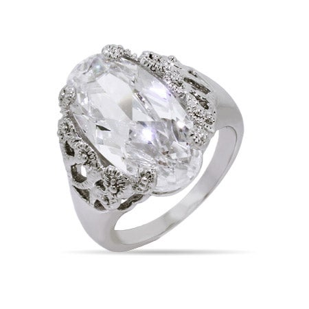 Oval Cut Victorian Lace CZ Ring | Eve's Addiction®
