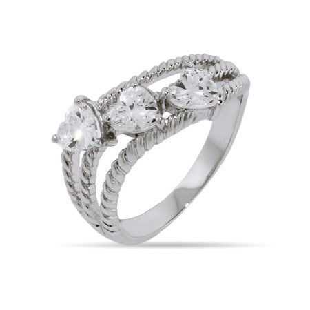 Three Heart CZ Cabled Friendship Ring | Eve's Addiction®