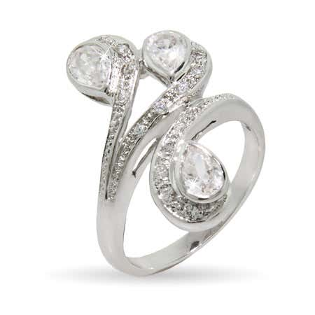 Triple Pear Shaped CZ Right Hand Ring