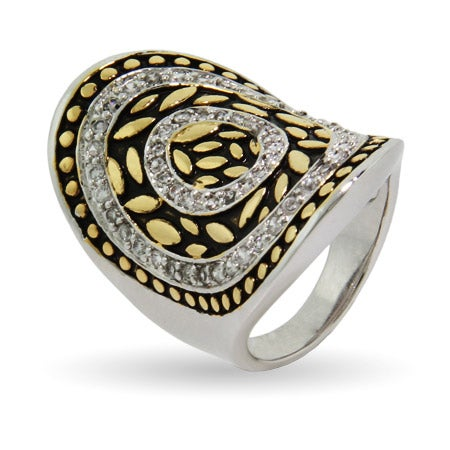 Designer Inspired Concave Oval Bali Design Ring | Eve's Addiction®