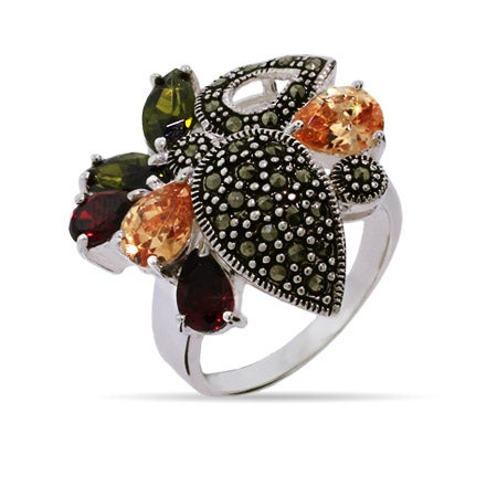 Designer Style Olive, Garnet, and Champagne CZ Marcasite Ring | Eve's Addiction®