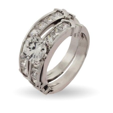 Stunning Channel Set CZ Engagement Ring Set | Eve's Addiction®