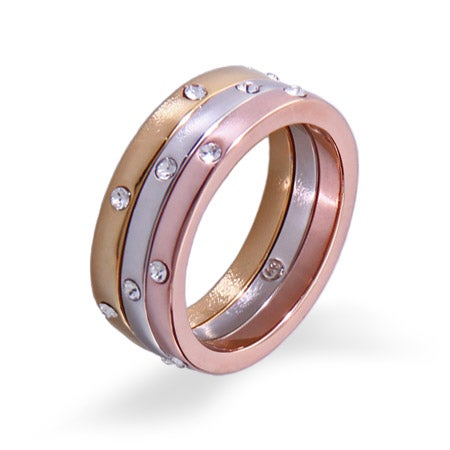 Three Tone Sparkling Stackable Ring Set