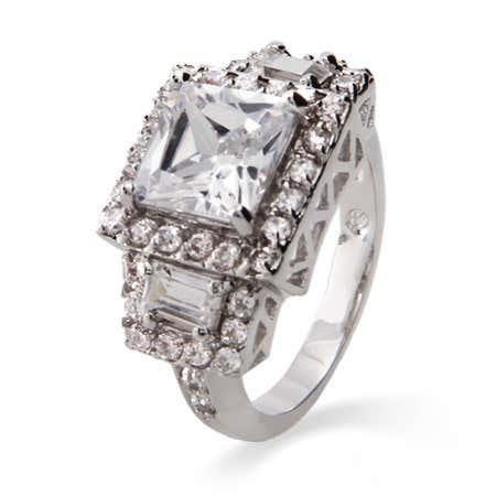 2 Carat Princess Cut CZ Past, Present and Future Ring