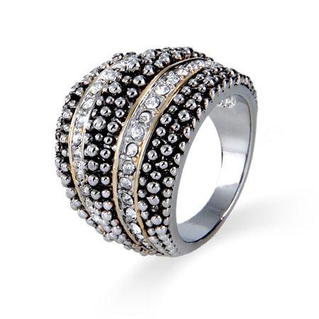 Designer Inspired Dotted Design CZ Domed Ring | Eve's Addiction®