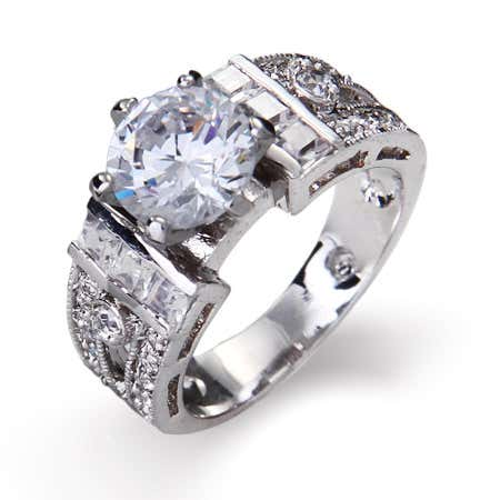 display slide 1 of 3 - 1.5 Carat CZ Engagement Ring - selected slide