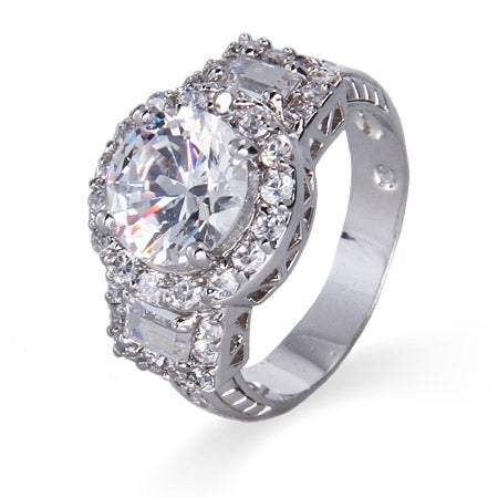Glamorous Center Brilliant Cut CZ with Baguettes Ring | Eve's Addiction®