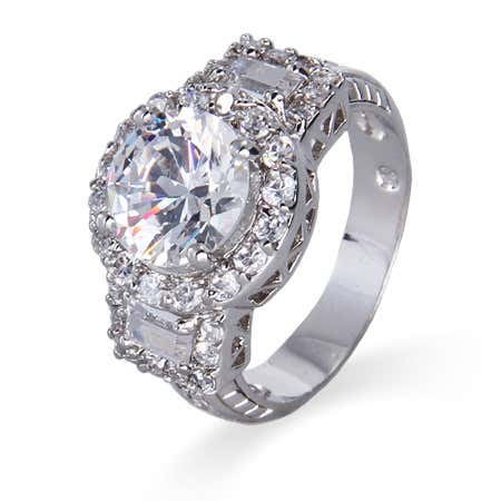 Brilliant Cut CZ with Baguettes Ring
