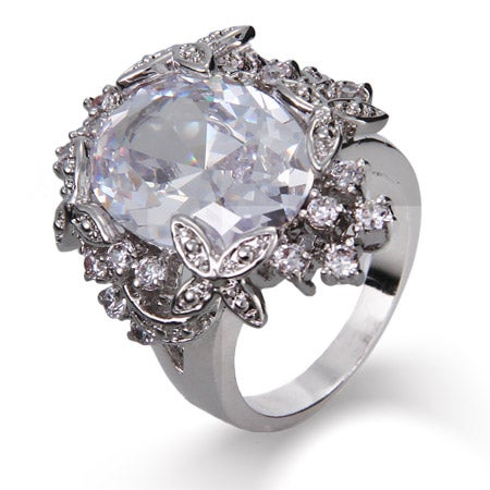 Dazzling Diamond CZ Oval Cut Cocktail Ring with Flower Edging | Eve's Addiction®