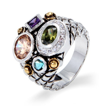Designer Inspired Multi Color Shapes CZ Ring | Eve's Addiction®