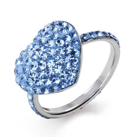 Dazzling Blue Swarovski Crystal Heart Ring | Eve's Addiction®
