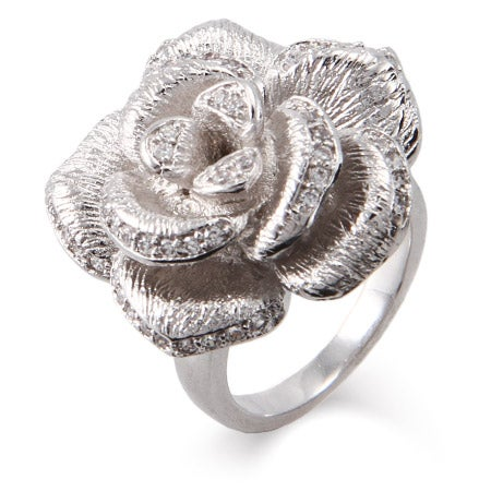 Shimmering CZ Rose Ring with Brushed Finish | Eve's Addiction®