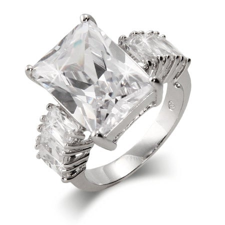 Celebrity Style 7 Carat Emerald Cut CZ Engagement Ring | Eve's Addiction®