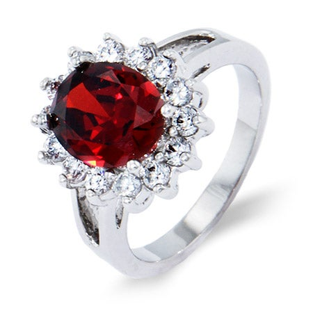 Stunning Garnet and Clear CZ Ring | Eve's Addiction®