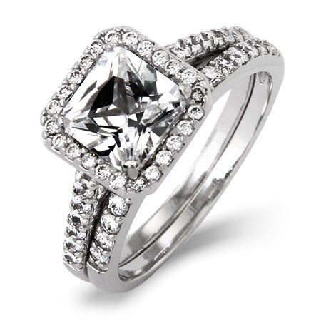 Movie Inspired Princess Cut CZ Engagement Ring Set | Eve's Addiction®