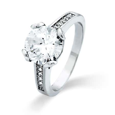 2.5 Carat Brilliant Cut CZ Engagement Ring with Side CZs