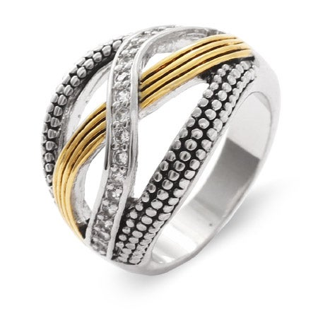 Designer Inspired Two Tone CZ Bali Style Infinity Ring | Eve's Addiction®
