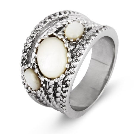 Six Band CZ and Oval Mother of Pearl Highway Ring | Eve's Addiction®