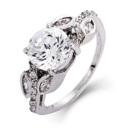 Brilliant Cut 2 Carat CZ Engagement Ring with Vine Accents | Eve's Addiction®