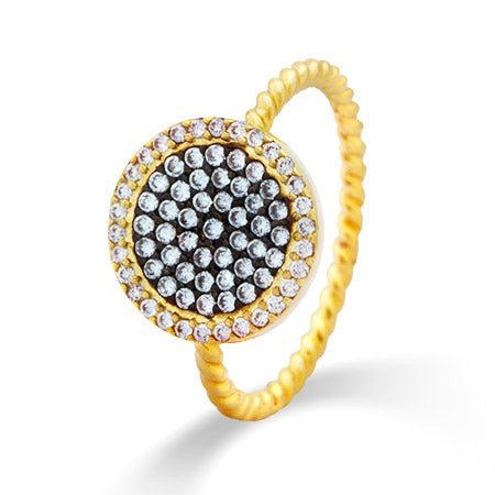 Gold Round Pave CZ Designer Inspired Ring | Eve's Addiction®