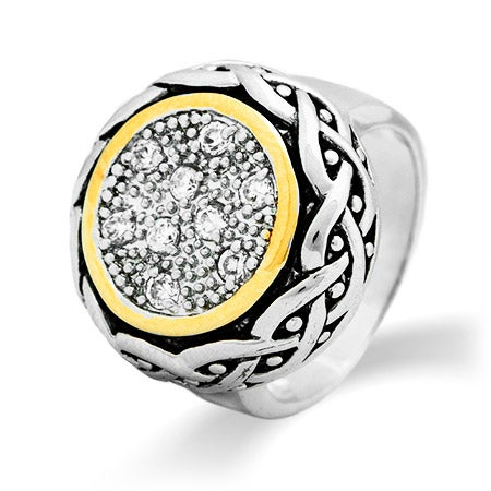 Designer Inspired Round Pave CZ Bali Ring | Eve's Addiction®