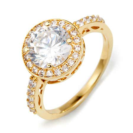 Gold Brilliant Cut Halo CZ Ring