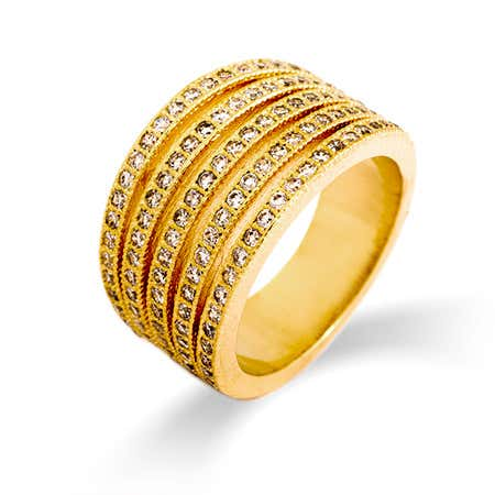 Gold Channel Set CZ Five Row Ring | Eve's Addiction®