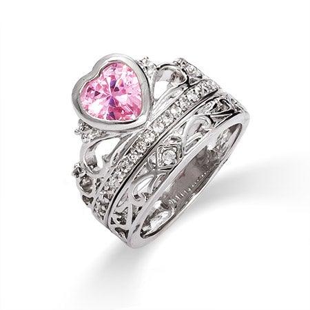 Pink Ice Crown Tiara CZ Ring Set | Eve's Addiction®