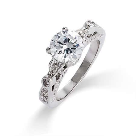 Brilliant Cut CZ Vintage Style Engagement Ring