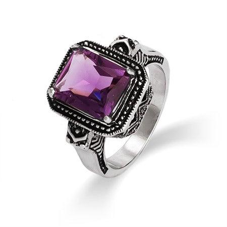 Designer Inspired Emerald Cut Amethyst CZ Vintage Ring | Eve's Addiction®