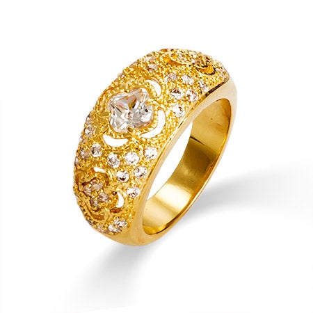 Intricate Vintage Style Golden CZ Ring | Eve's Addiction®