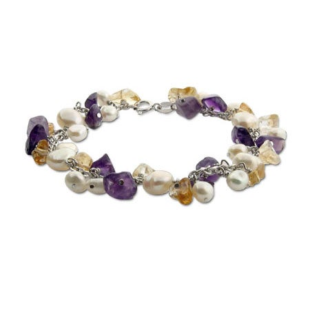 Pearls and Amethyst Genuine Stone Bracelet | Eve's Addiction®