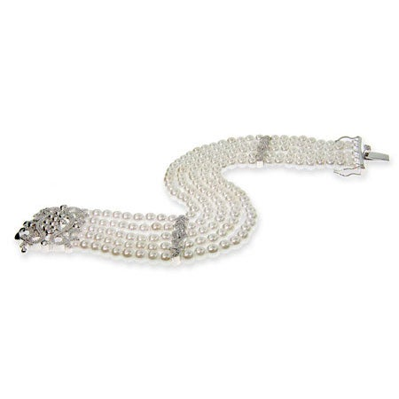 Elegant Five Strand Pearl Bracelet with CZ Clasp | Eve's Addiction®