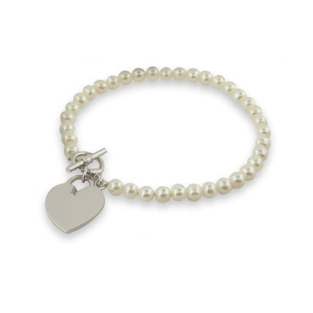 Freshwater Pearl Sterling Silver Heart Tag Bracelet | Eve's Addiction