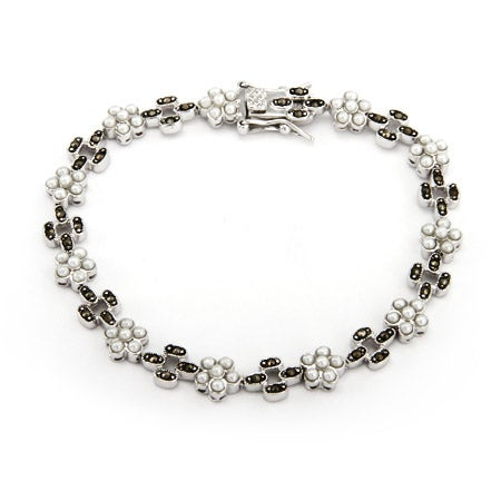 Sterling Silver Freshwater Pearl and Marcasite Tennis Bracelet | Eve's Addiction®