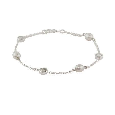 Pearl CZ Studded Chain Bracelet | Eve's Addiction®