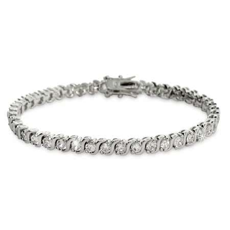 Diamond cubic zirconia tennis bracelet with flexible aline bracelet design
