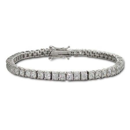 Sterling Silver Princess Cut 3mm Diamond CZ Tennis Bracelet | Eve's Addiction®