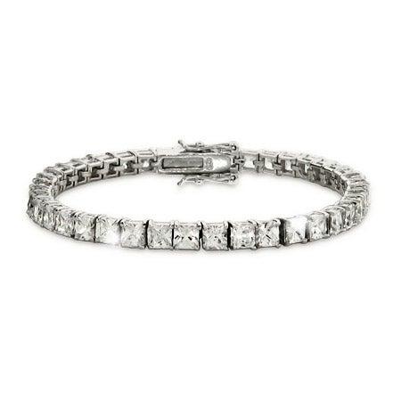 4mm Princess Cut Diamond CZ Tennis Bracelet   Eve's Addiction®