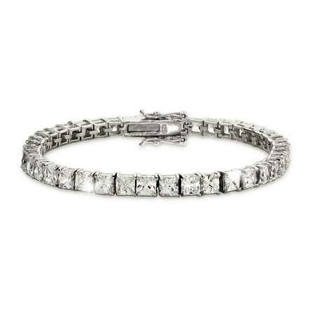 4mm Princess Cut Diamond CZ Tennis Bracelet | Eve's Addiction®