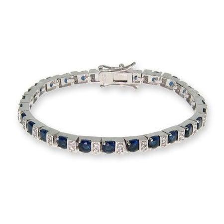 Sapphire and Diamond CZ Tennis Bracelet | Eve's Addiction®