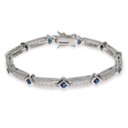 Elegant Sapphire and Diamond CZ Tennis Bracelet | Eve's Addiction®