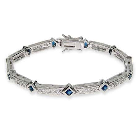 Cubic zirconia sapphire tennis bracelet in sterling silver from Eves addiction