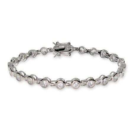 Sterling Silver Bezel Link Tennis Bracelet | Eve's Addiction®