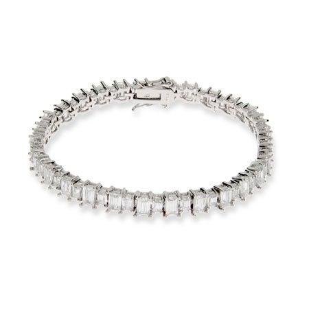 Sparkling Baguette Cut CZ Tennis Bracelet | Eve's Addiction®