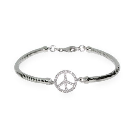 Sparkling Sterling Silver CZ Peace Sign Bracelet | Eve's Addiction®