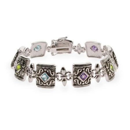 Multicolor CZ Fleur de Lis Sterling Silver Bracelet | Eve's Addiction®