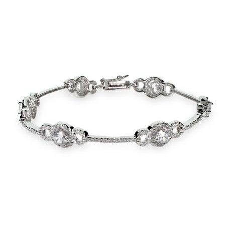 Exquisite Vintage Style CZ Sterling Silver Tennis Bracelet | Eve's Addiction®