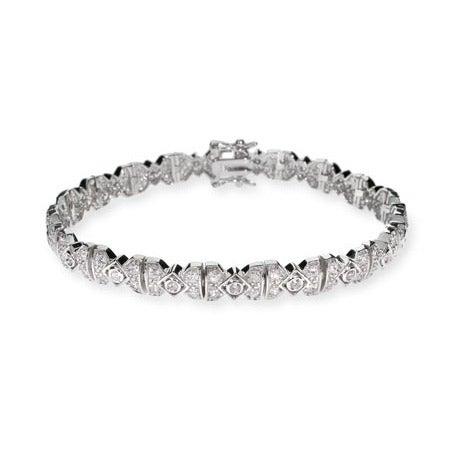 Deco Style Victorian CZ Silver Tennis Bracelet | Eve's Addiction®