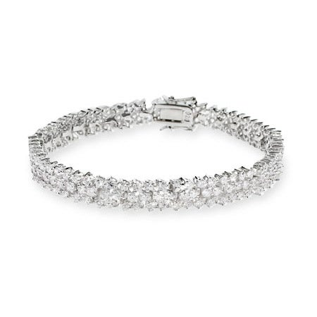 Glistening Three Row Sterling Silver CZ Tennis Bracelet | Eve's Addiction®
